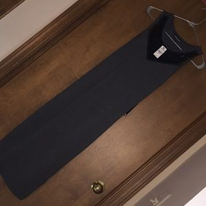Grey express Maxi with black sequined neck line.